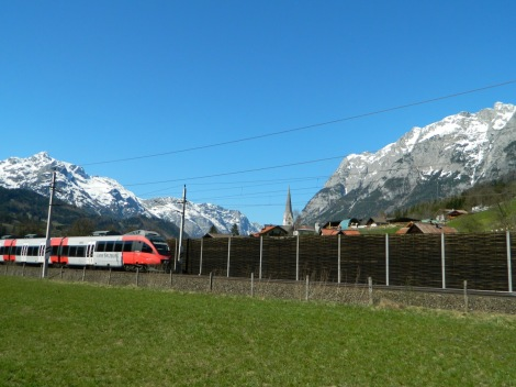 The Salzburg Linie train venturing deep into the mountains