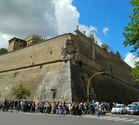 Queuing to get inside the Vatican walls
