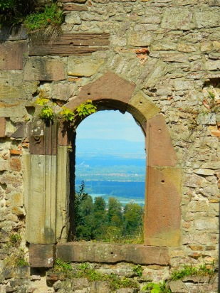 View of Rhine through castle window