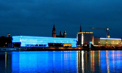 Kunsthaus in blue at midnight