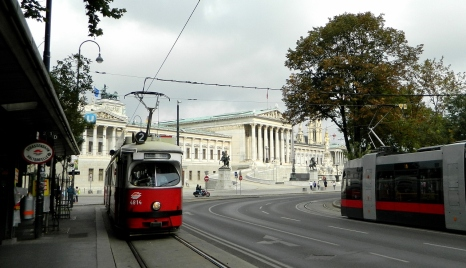 Parliament building with trams