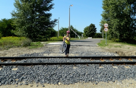 Crossing a border rail track into Hungary