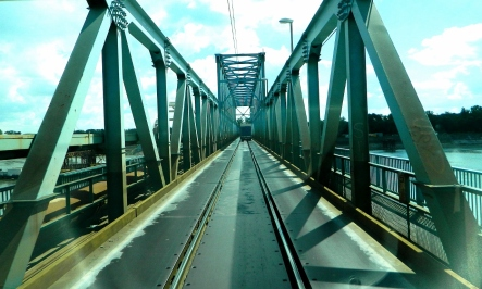 Diversion across a rail bridge at Novi Sad