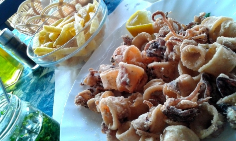 Squid lunch by the sea