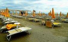 Blowy beach umbrellas