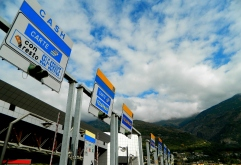 Italian toll booths with a view