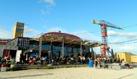 A bar made entirely of shipping containers