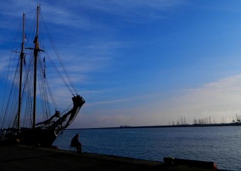 Fishing at dawn in Warnemünde harbour