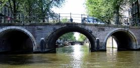 On the water beneath the bridges