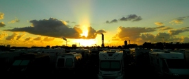 Sunset over the dockland aire