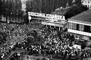 Gathered outside the gates during the strike in August 1980