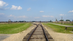 Lonely track into the Birkenau camp