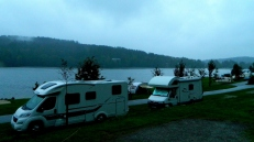 A soggy evening at Camp Frymburk