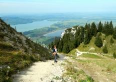 Beginning the hike down a steep ski slope