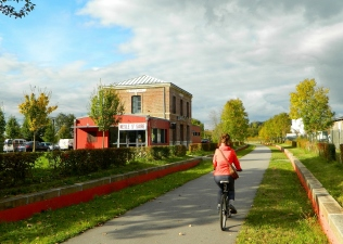 Cycling through a former station on the Voie Vert