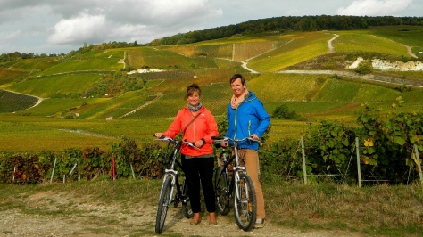Happily cycling through the vines