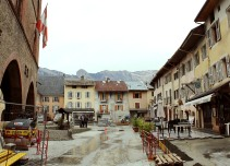 Entering Conflans' central square