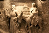 A carving of Mary and Joseph escaping into Egypt