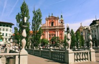Triple bridge with view of Preseren Square