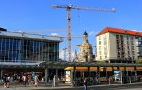 Modern skyline and cranes