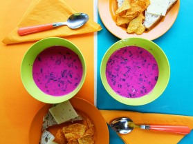 Bowls of beetroot soup