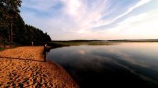 Shimmering lake at sunset