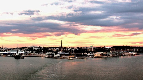 Leaving Turku port at sunset