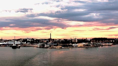 Leaving Turku port at sunset