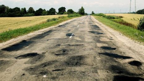 The bumpy pot-holed road out of Cesis