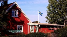 Coastal cottage with flag