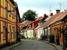 Ystad's Stora Vastergartan, a curving street of cottages