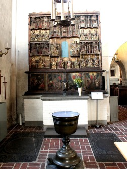 Medieval font and altarpiece
