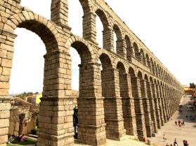 Aqueduct reaching Segovia's city walls