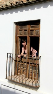 Medieval shuttered balcony