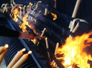 Pyre of burning candles