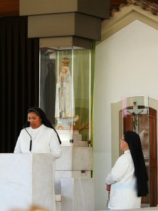 Rosary service in modern chapel